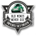 Koolart OLD MINIS NEVER DIE Motif For Green Classic Mini Cooper S Vinyl Car Sticker 100x100mm